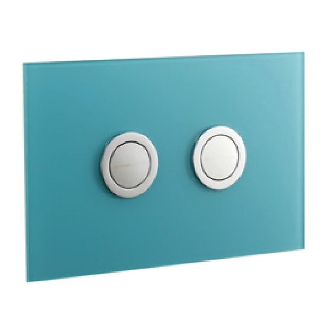 Abacus Lustrolite Press Panel Glass Effect Dual Flush Plate - Blue Atoll