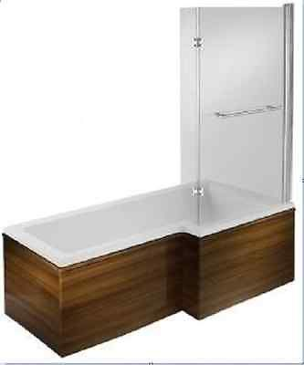 Blok L Shape Shower Bath With Wooden Bath Panel & Bath Screen LH or RH - Various Colours