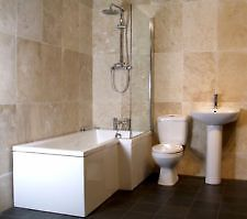 L Shape Bathroom Suite Inc L Shape Bathscreen & Panel Wc Basin & Pedestal LH or RH