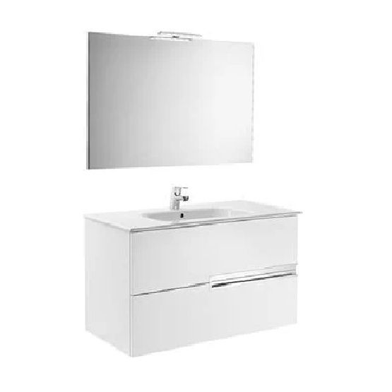 Roca Victoria-N 2 Drawer Vanity Unit Basin And Mirror Light 805mm Wide Gloss White