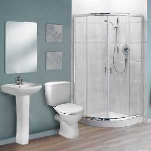 Shower Bathroom Suite Chrome Quadrant Enclosure Toilet Basin & Pedestal - Various Sizes