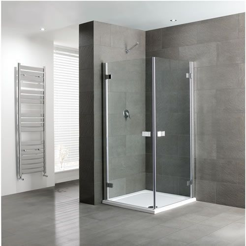 Volente Double Hinge Shower Door, Easy Clean, Polished Silver - Various Sizes