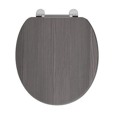 Elite Avola Grey Wooden Toilet Soft Close Seat With Chrome Fittings