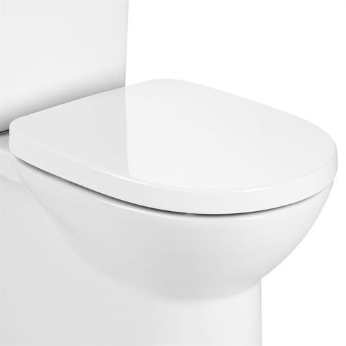 Roca Debba Round Wall Hung Toilet Soft Close Seat With Cover - Matt White