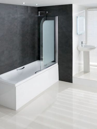 Volente Frosted Glass 6mm Hinge Bath Screen 850x1500mm